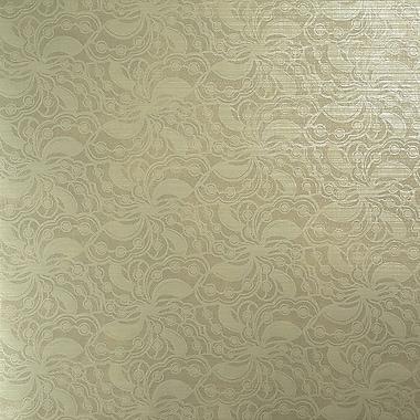 Walls Republic Metallic Beaded 27.5'' x 27.5'' Floral and botanical Wallpaper; Beige
