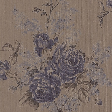 Walls Republic 33' x 20.8'' Floral Botanical Classic Wallpaper; Taupe / Purple