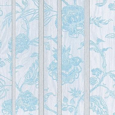 Walls Republic 32.5' x 27.5'' Faux Floral Stripes Through Nature Wallpaper; Blue / White