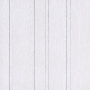 Walls Republic 32.5' x 27.5'' Faux Stripes Through Wooden Wallpaper; White / Grey