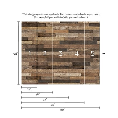 SimpleShapes Reclaimed Wood Mural 8' x 24'' Panel Wallpaper; 5 Sheet Pack - 24''w X 108''h
