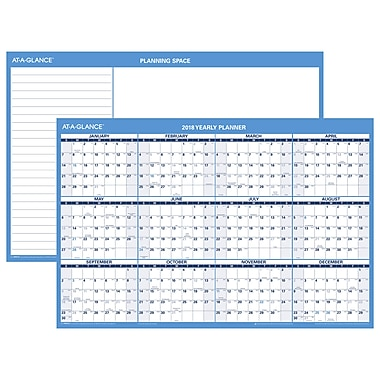 AT-A-GLANCE® Horizontal Erasable Wall Calendar, 12 Months, Reversible for Planning Space, 36