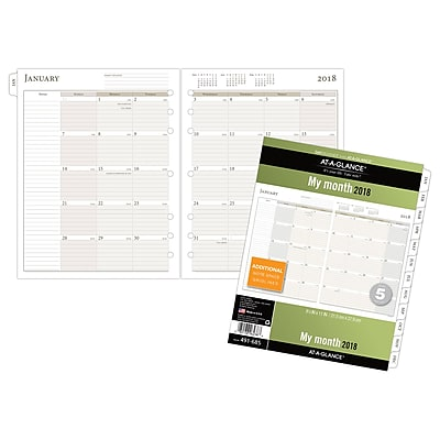 AT-A-GLANCE® Day Runner® Monthly Planner Refill, Ruled Blocks, January 2018-December 2018, Loose-Leaf, 8-1/2