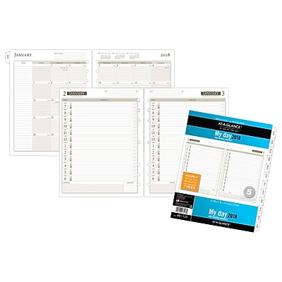 AT-A-GLANCE® Day Runner® Daily Planner Refill, One Page Per Day, Loose-Leaf, 12 Months, January Start, 8 1/2