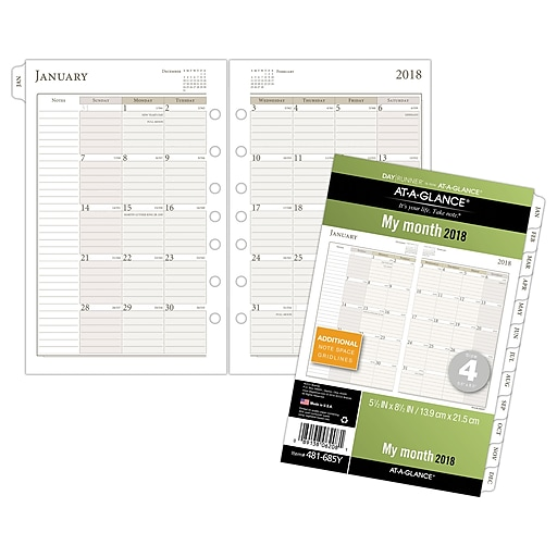 at a glance day runner monthly loose leaf planner refill pages 12