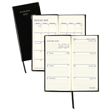 AT-A-GLANCE® Fine Diary® Weekly/Monthly Pocket Diary, 12 Months, January Start, 3 1/8