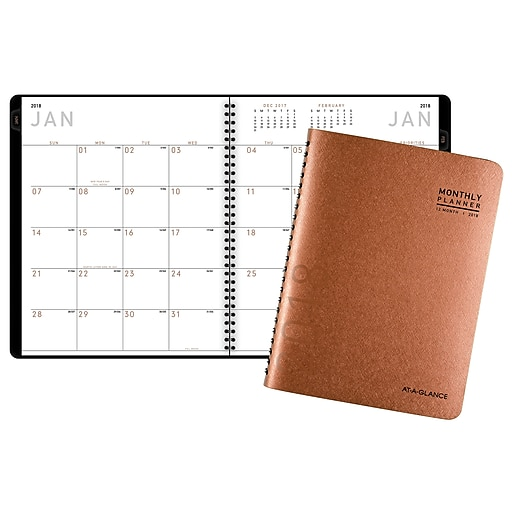 "2018 AT-A-GLANCE® Contemporary Monthly Planner, 8-7/8"" x 11"", Copper (70260X7018)"