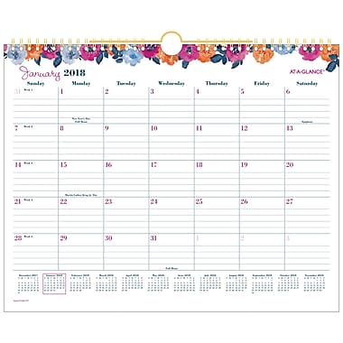 AT-A-GLANCE® Eva Monthly Wall Calendar, 12 Months, January Start, 15