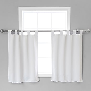 August Grove Portersville Solid Blackout Thermal Tab Top 36'' Window Valance (Set of 2); Vapor
