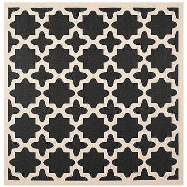 Alcott Hill Fredricks Black/Beige Outdoor Area Rug; Square 5'3''