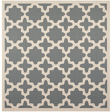 Alcott Hill Fredricks Anthracite & Beige Indoor/Outdoor Area Rug; Square 6'7''