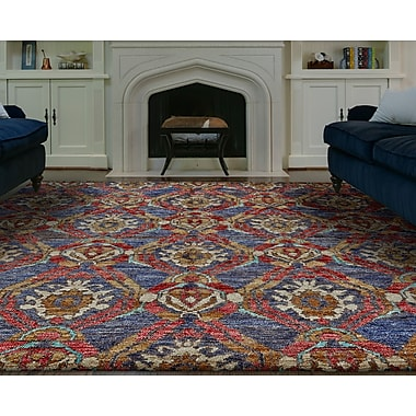 Bloomsbury Market Arron Hand-Knotted Navy/Red Area Rug; 9'6'' x 13'6''