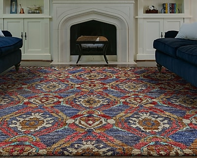 Bloomsbury Market Arron Hand-Knotted Navy/Red Area Rug; 2' x 3'