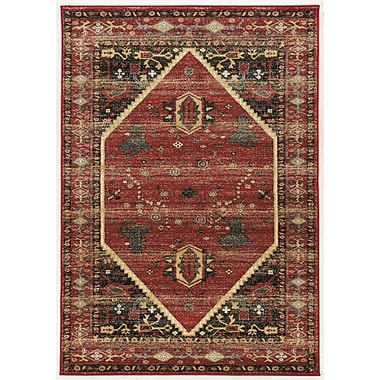 Bloomsbury Market Shelie Hexagon Red/Black/Beige Area Rug; 2' x 3'