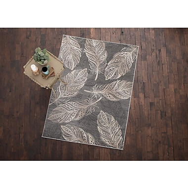 Bungalow Rose Orin Feather Gray Area Rug; 5'3'' x 7'3''