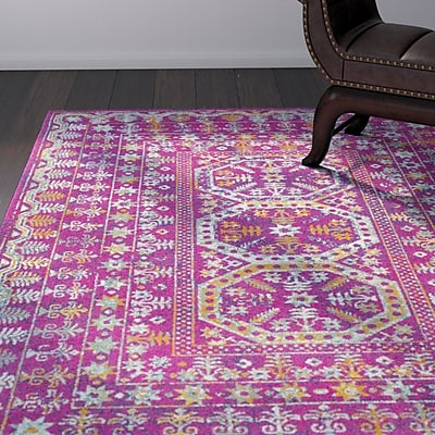 Bungalow Rose Downs Traditional Vintage Pink Area Rug; 2' x 3'