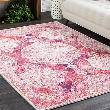 Bungalow Rose Downs Distressed Medallion Vintage Pink Area Rug; 2' x 3'