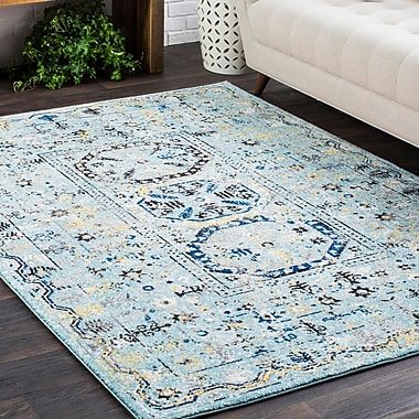Bungalow Rose Downs Traditional Vintage Light Blue Area Rug; 9'3'' x 12'6''