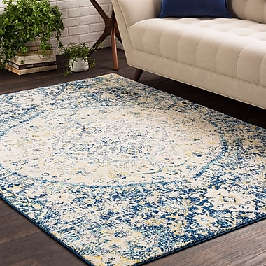 Bungalow Rose Downs Vintage Persian Medalion Oriental Blue/Beige Area Rug; 3'11'' x 5'7''