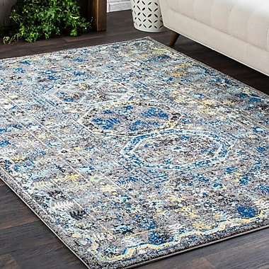 Bungalow Rose Downs Traditional Vintage Blue/Gray Area Rug; 2' x 3'
