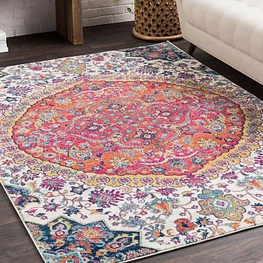 Bungalow Rose Downs Vintage Persian Medalion Oriental Pink/Blue Area Rug; 2' x 3'