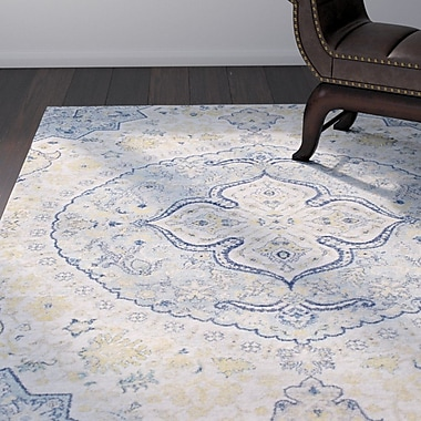 Bungalow Rose Downs Traditional Vintage Persian Medalion Oriental Blue/Cream Area Rug; 5'3'' x 7'3''