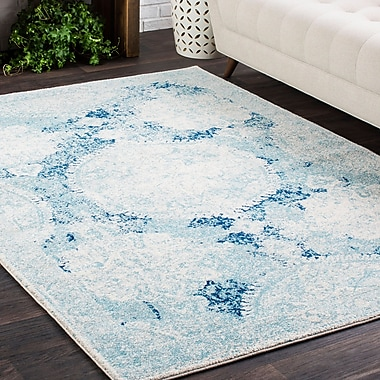 Bungalow Rose Downs Distressed Vintage Medallion White/Blue Area Rug; 3'11'' x 5'11''