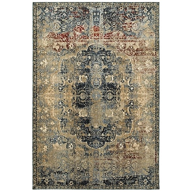 Bloomsbury Market Quenby Gold/Blue Area Rug; 6'7'' x 9'6''