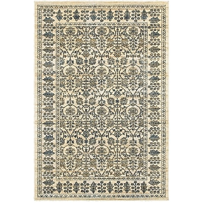 Bloomsbury Market Quenby Traditional Ivory/Blue Area Rug; 5'3'' x 7'6''