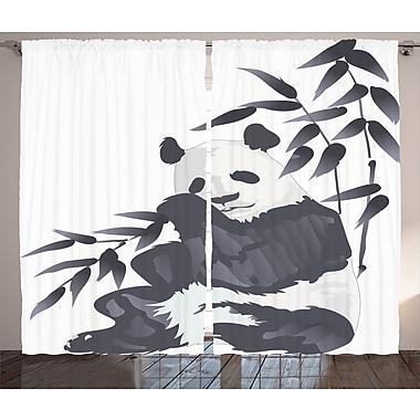 Bloomsbury Market Joellen Graphic Print and Text Semi-Sheer Rod Pocket Curtain Panels (Set of 2)