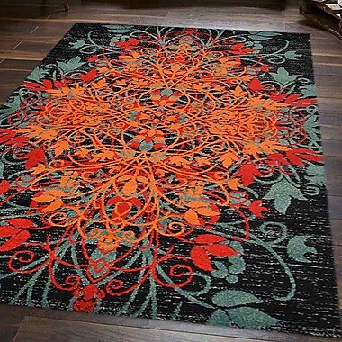 Bloomsbury Market Anneliese Orange/Green Area Rug; 10' x 13'