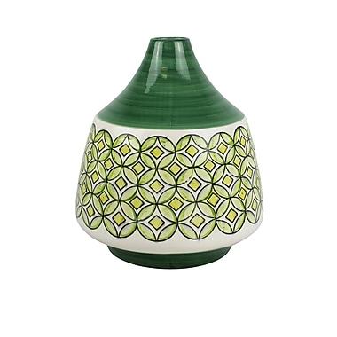 Bloomsbury Market Mejia Green/White Ceramic Table Vase; 13.25'' H x 11.5'' W x 11.5'' D