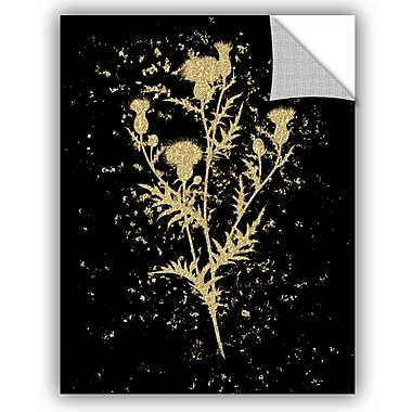 Bloomsbury Market Addison Gold Splatter Thistle Removable Wall Decal; 48'' H x 36'' W x 0.1'' D
