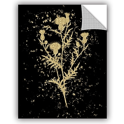 Bloomsbury Market Addison Gold Splatter Thistle Removable Wall Decal; 24'' H x 18'' W x 0.1'' D