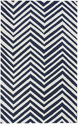 Corrigan Studio Brant Navy Blue/White Chevron Area Rug; 8'6'' x 11'6''