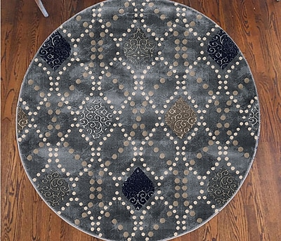 Ebern Designs Fulop Modern Gray Area Rug; Round 7'10''
