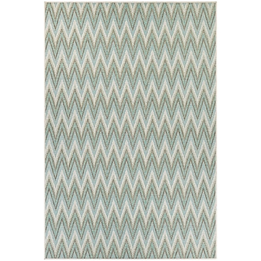 George Oliver Conesus Blue Chevron Indoor/Outdoor Area Rug; 5'10'' x 9'2''