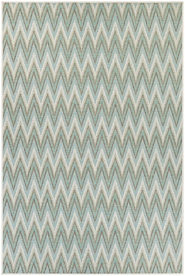 George Oliver Conesus Blue Chevron Indoor/Outdoor Area Rug; 7'6'' x 10'9''