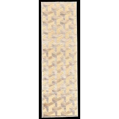 George Oliver DeRuyter Cream/Silver Area Rug; Runner 2'6'' x 8'