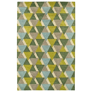 George Oliver Dresden Hand Tufted Green/Brown Area Rug; 3'6'' x 5'6''