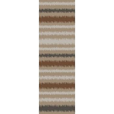 George Oliver Carlton Brown/Tan Striped Area Rug; 8' x 11'