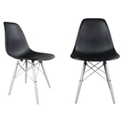 George Oliver Hammond Modern Solid Wood Dining Chair (Set of 2); Black
