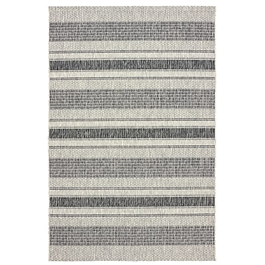 Gracie Oaks Maiah Reversible Black/Beige Indoor/Outdoor Area Rug; 8' x 10'