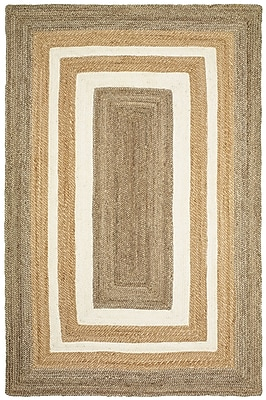 Highland Dunes Lechez Jute Hand-Woven Gray/Beige Area Rug; 5' x 7'9''