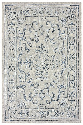 Ophelia & Co. Dinesh Reversible Navy/Gray Indoor/Outdoor Area Rug; 8' x 10'