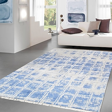 Pasargad Modern Hand Knotted Silk Silver/Blue Area Rug; 7'11'' X 10' 6''