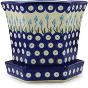 Polmedia Floral Peacock Polish Pottery Pot Planter; 7.8'' H x 6.77'' W x 7.24'' D