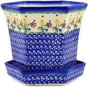 Polmedia Spring Flowers Polish Pottery Pot Planter; 6.14'' H x 5.98'' W x 7.01'' D
