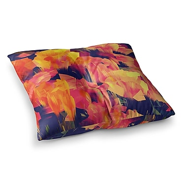 East Urban Home Kathryn Pledger Geo Flower Abstract Square Floor Pillow; 26'' x 26''