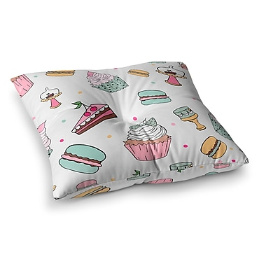 East Urban Home Louise Sweet Sweet Cake Food Square Floor Pillow; 23'' x 23''